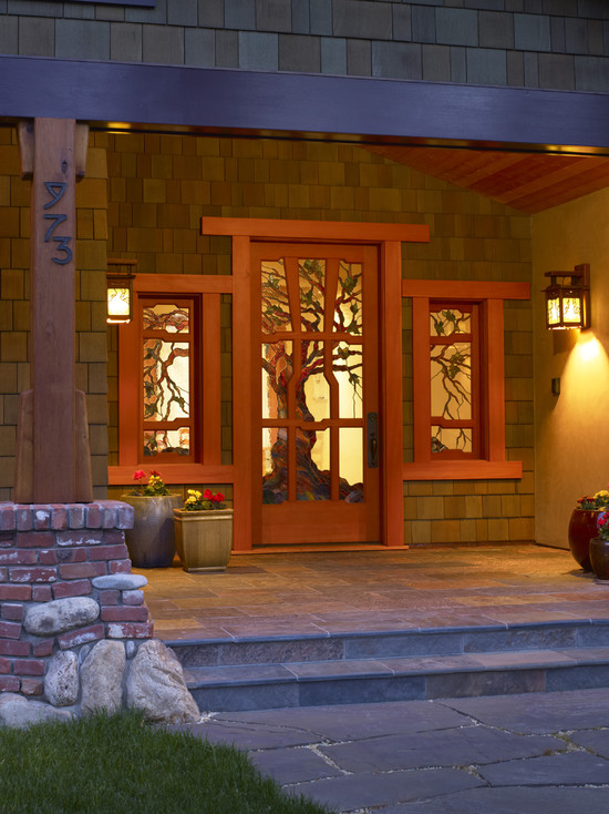 Beautiful Craftsman Style Home Colors: Amazing Craftsman Entry Craftsman Style Home Colors Prairie Style Woodwork And Stained Glass A Grand Entry Door Is Made Even More Stunning With The Addition Of A Series Of Stained Glass Scenes