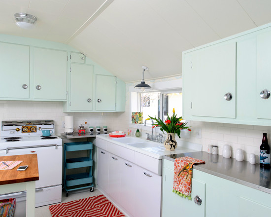 Inexpensive Or Cheap Retro Furniture Pictures : Amazing Cupboards And Retro Colour And Stainless Countertops At Eclectic Kitchen