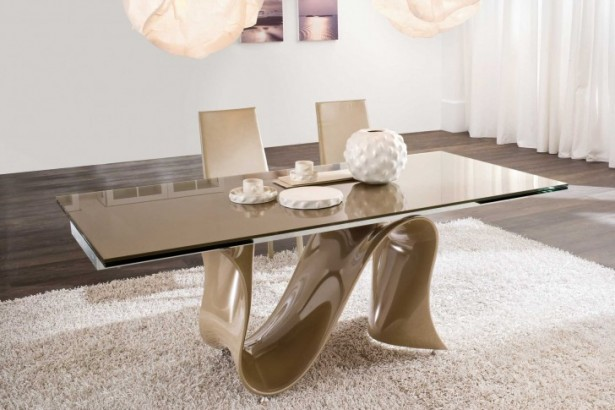 Attractive Style Of Public Swimming Pool For Cotemporary House: Amazing Dining Room Tables Sets Wooen Floor White Wall Glass Tob Dining Table With Fantastic Foot Table Shaped With Great Fur Rug Nice Pendant1 ~ stevenwardhair.com Design & Decorating Inspiration