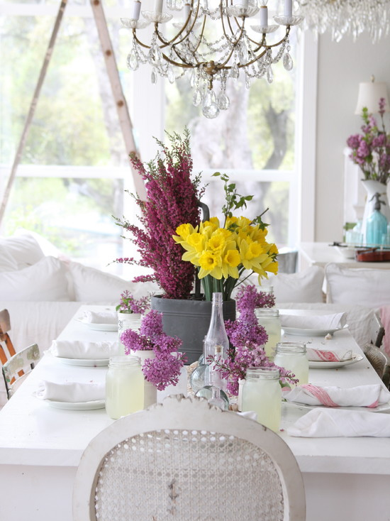 Wonderful Cheap Flower Centerpiece Ideas: Amazing Eclectic Dining Room With Table Styling Purple And Yellow Florals And Casual Floral Arrangement Is A Great Way To Quickly And Easily Add Color To A Space