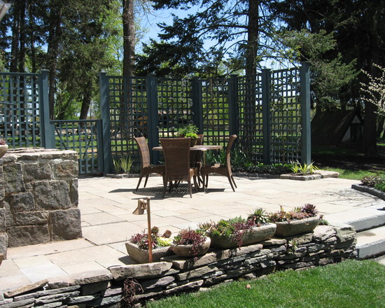 Adding Lattice to The Deck Home : Amazing Entertaining Space Eclectic Patio Cedar Lattice And Gate Open Lattice Work In The Fence And Stone Wall With Pots On Top