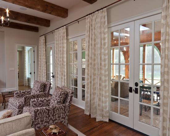 Charming French Door Curtain Rod Designs: Amazing Family Room With French Door Curtain Rod