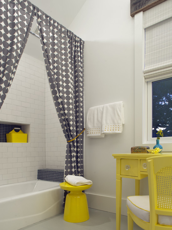Beautiful Yellow Striped Shower Curtain: Amazing Gray Patterned Shower Curtain And Lemon Yellow Martini Side Table And Vintage Vanity Are Fun And Feminine At Beach Style Bathroom