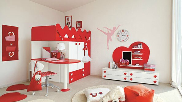 Heart Themed Girls Bedroom Decorating Ideas: Amazing Heart Theme Red And White Girls Bedroom Decoration With Bunk Bed Table Chair Cabinet Rug And Wall Decor Ideas