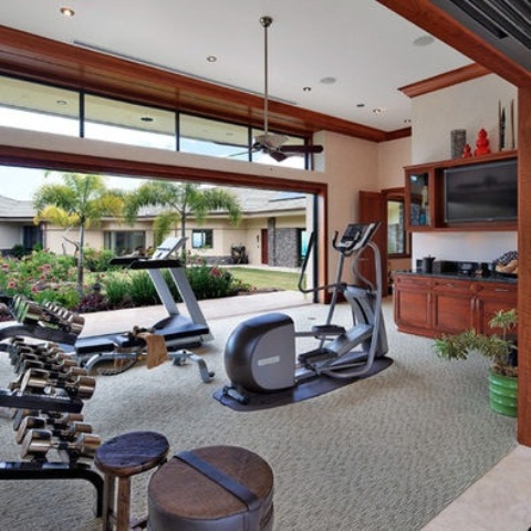 Atonishing In House Gym Space Design For Urban Living: Amazing Home Gym Designs With Compact And Versatile Fitness Equipments Elliptical Treadmill Or Multi Functional Home Gym System
