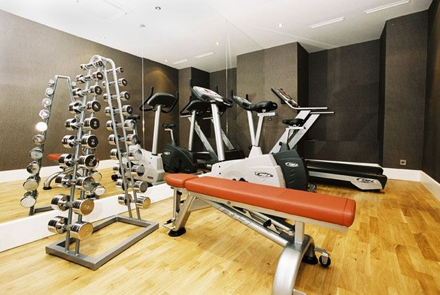 Atonishing In House Gym Space Design For Urban Living : Amazing Home Gym Designs With One Set Dumble With Portable Fitness Equipment Training Equipments Elliptical Treadmill Large Mirror