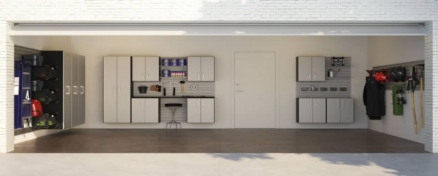 Ideas To Create An Organized And Modern Looking Garage: Amazing Ideas To Create An Organized And Modern Looking Garage With White Rack Grey Floor White Stone Door Luxury Garage Storage Systems 915x367 ~ stevenwardhair.com Design & Decorating Inspiration