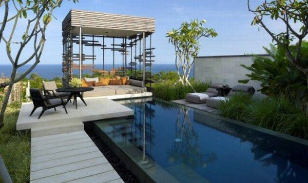 Amazing Pool Designs For Contemporary Home : Amazing Infinity Pool Design Contemporary Home Ideas Chair Table Pavilion Sofa Plants Bay View