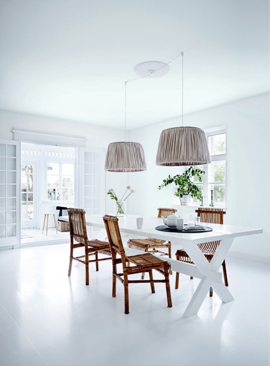 Bright White Themed Homewares Designs: Amazing Interior House Design With All White Dinning Table With Nroen Pendant And Wood Table With Bay Window