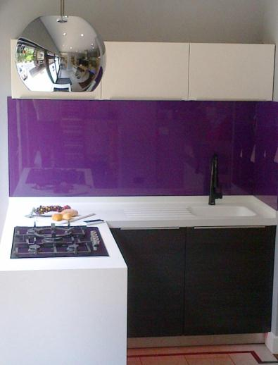 Modern Embedded Kitchen Hoods Design Ideas: Amazing Kitchen Cabinet Design With Purple Glass Backsplash Idea Witn Modern Ceiling Mounted Hood Called Sphera ~ stevenwardhair.com Cabinets Inspiration
