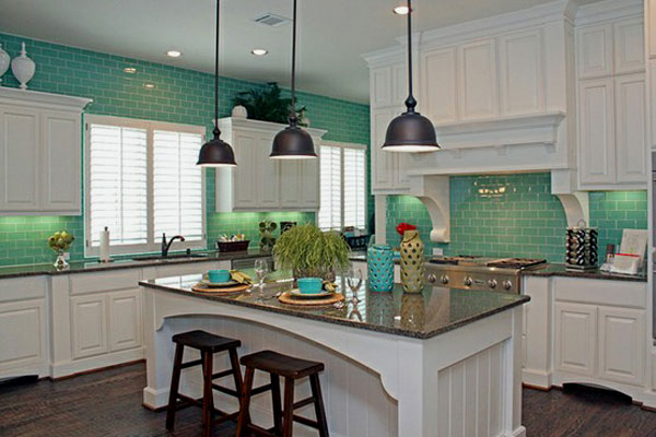 Use A Kitchen Subway Tiles For Lovely Effect Ideas: Amazing Kitchen Design With Green Subway Tiles And White Gloss Cabinet With Lamps And Wooden Flooring Ideas