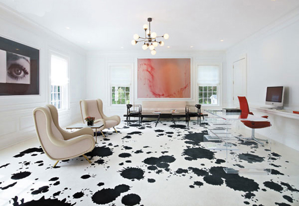 inspiring flooring design ideas amazing living room interior design with cool white black color poured