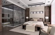 Luxurious Bathroom Designs For Apartments Ideas : Amazing Luxury Apartment Bedroom Design With Glass Modern Bathroom And Brown Wall Scheme With Wooden Furniture Area Rug And Wooden Flooring With Lighting Ideas