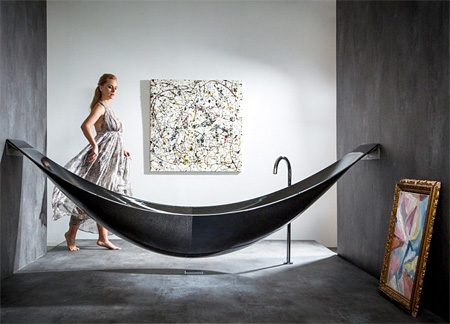 Hammock Bathtub: Another Amenities for Relaxing Bathroom Design : Amazing Modern Bathtub Design That Suspended From The Walls With Wall Decor Ideas