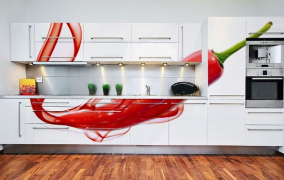 Wall Decal For Interior Decoration Ideas: Amazing Modern White Kitchen Cabinet With Lighting Idea Also Cool Red Chili Wall Decal On Wooden Flooring Ideas