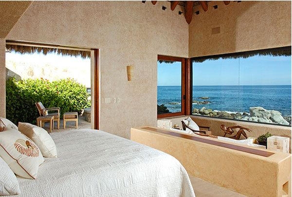 Inspiring Ocean View Bedroom Design Ideas: Amazing Morning Ocean View Bedroom Decoration With Bed Pillow Large Glass Window And Outdoor Terrace Ideas ~ stevenwardhair.com Bed Ideas Inspiration