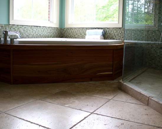 Stunning Rectangular Travertine Tile For Amazing House: Amazing Mosaic Tile And Chiseled Rectangle Travertine Tile At Traditional Bathroom