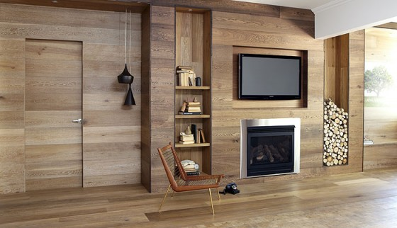 Astounding Indoor Oak Paneling System Design Ideas: Amazing Oak Theme Living Room Design With Built In Shelf Fireplace Firewood Storage On Oak Wall Design And Oak Flooring System Ideas1