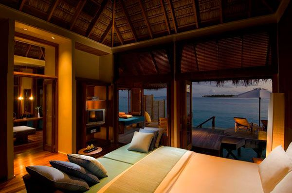 Inspiring Ocean View Bedroom Design Ideas: Amazing Ocean View Bedroom Interior Design With Cushions Cabinet Lighting Wooden Flooring And Outdoor Terrace For Sun Bathing Deck Ideas ~ stevenwardhair.com Bed Ideas Inspiration