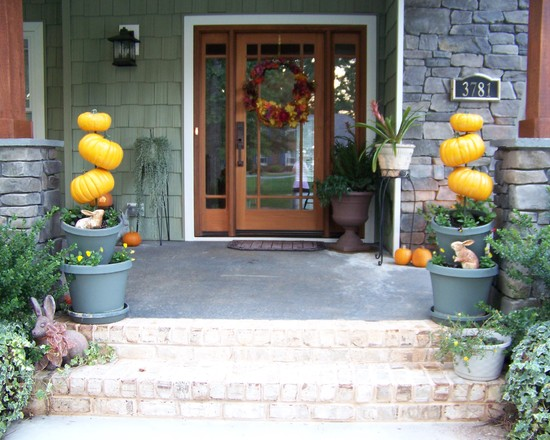 Amazing Party Decorations Pictures : Amazing Outdoor Decorating Idea Craftsman Exterior With Decorative Pumpkins On A Post In Her Front Door Flower Pots For An Added Punch Of Autumn Decor