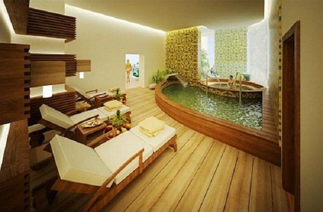 Breathtaking Bathrooms With Amazing Personality : Amazing Personality Breathtaking Bathrooms With Wooden Floor White Longue Furnitures With Nice Interesting Yakuzi