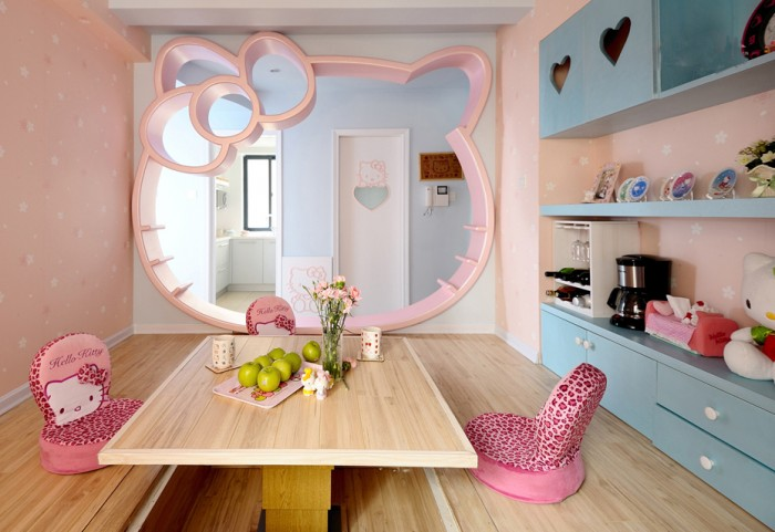 Cozy And Fun Tween Girl Bedroom Interior Ideas: Amazing Pink Hello Kitty Theme With Wooden Flooring Tween Girl Bedroom Design With Japanese Style Table And Light Blue Cabinet With Pink Wallpaper Ideas
