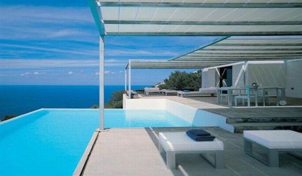Amazing Pool Designs For Contemporary Home : Amazing Pool Design Contemporary Home Ideas Terrace Roof Sofa Table Seats Stobe Tile Flooring Bay View