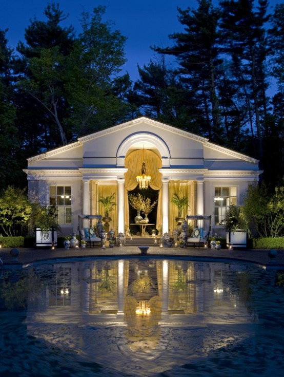 My Favorite Luxurious Swimming Pool Design: Amazing Poolside Area Design With Chandelier Soda Door Window View White Wall Curtain And Landscape View ~ stevenwardhair.com Pool & Backyard Inspiration