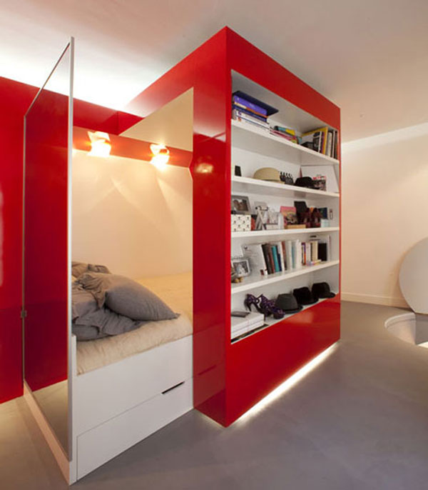 Small Apartment Design And Decoration : Amazing Red Mobile Bookshelf Bedroom Stainless Tempered Glass