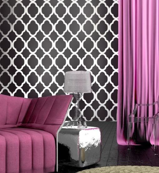 Beautiful Black White And Purple Colors Design: Amazing Room With Hot Pink With Black And White Wallpaper Plus Silver Accents And Stunning Side Table And Lamp