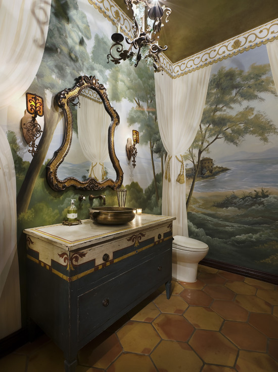 Beautiful Wall Murals For Living Room : Amazing Rustic Powder Room Tuscan Bathroom With Different Mural But Adore The Idea