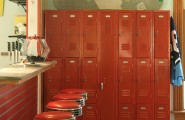 All Kinds Pictures Of School Lockers : Amazing School Lockers Painted Red In Kitchen For Craft Room Storage And Magnetic Board