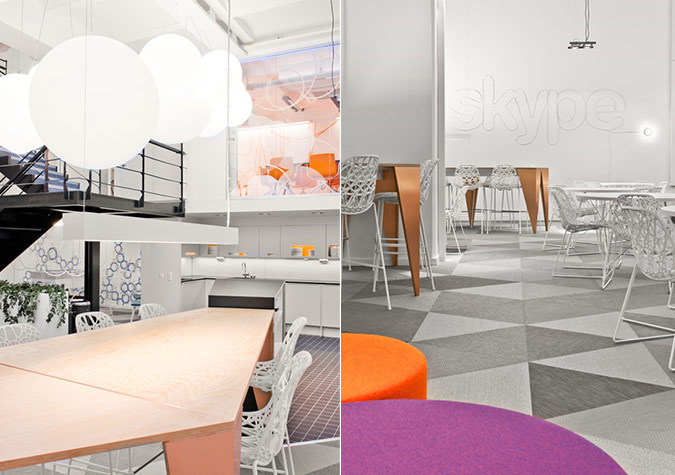 Amazing Modern Colorful Skype's Stockholm Office: Amazing Skype Stockholm Office Kitchen Interior Designs With Oversized Pendant Light And Unique Table