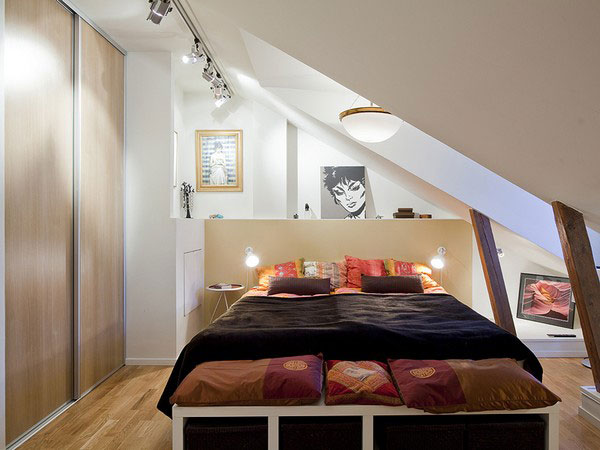 Excellent Ideas To Make Small Bedroom Look Bigger : Amazing Small Attic Bedroom Design With Black Color Bedcover Pillows Cushions Lighting Sliding Door Closet And Wooden Flooring Ideas