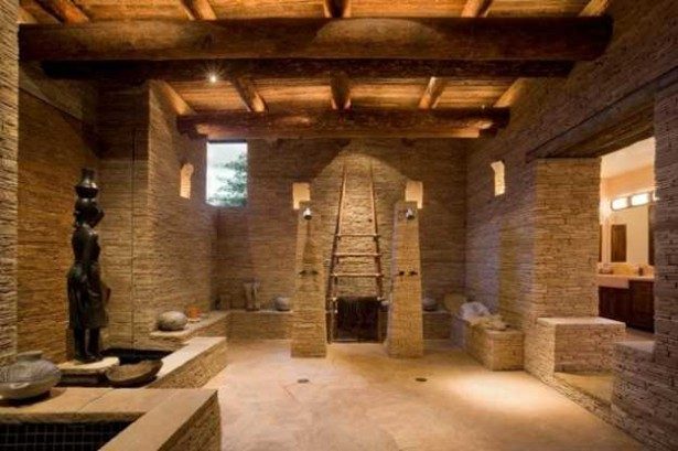 Open Shower Bathroom Design Ideas: Amazing Stone Open Shower Bathroom Design Ladder For Towel Statue Expose Beams Ceiling Natural Stone Flooring Ideas ~ stevenwardhair.com Apartments Inspiration