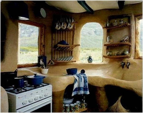 Unique & Unusual Kitchen Cabinets Styles Design: Amazing Storybook Kitchen Cabinet Design That Made From Smoothly Dug Out Earth Material With Adorable Curve Sink And Countertop Ideas