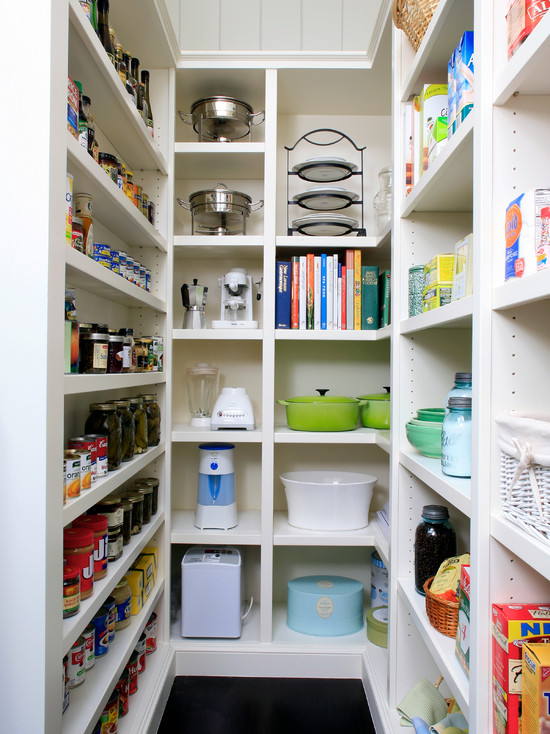 Awesome Pantry Shelves Designs: Amazing Traditional Kitchen With White Pantry Shelves Designs For Many Stuff