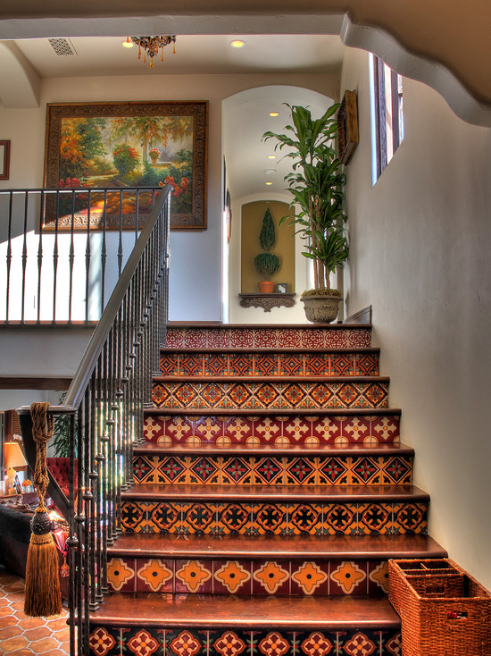 Floor Tiles Stairs Design Ideas : Amazing Traditional Staircase Pattern Floor Tiles Stairs