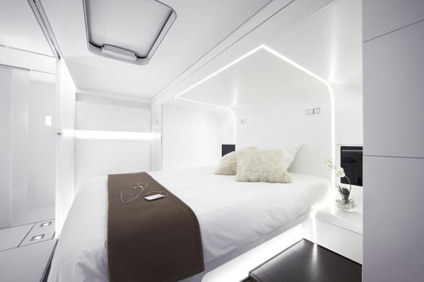 Luxurious Mobile Home by A-Cero Architecture Studio: Amazing White Bedroom Mobile Home Interior Design With Bed Cushion Bedcover Lamp Ideas