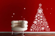 All Kind Of Christmas Holiday Wall Decals : Amazing White Christmas Blossom Tree Wall Decal On Red Wall With White Leather Armchair
