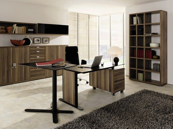 Captivating Modern Home Office Design Ideas: Amazing Wooden Home Office Interior Decoration With Wooden Desk Swivel Office Chair Table Cabinet Bookshelves Lamps And Rug ~ stevenwardhair.com Bookshelves Inspiration