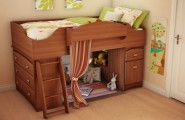 Minimalist Sweet Combination Kids Loft Bed : Amazing Wooden Loft Bed With Surprising Wooden Floor Design Ideas And Cream Wall Lime Green Pillow