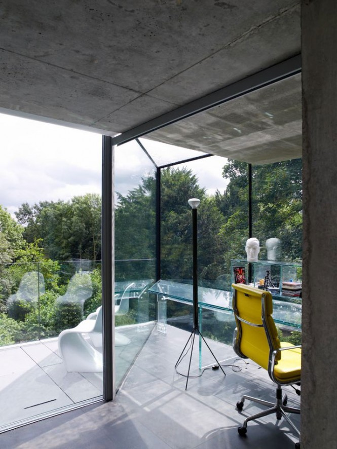 Remarkable Glass Wall Design That Peeks Over the Hills : Amazing Workspace With Beautiful Unique Glass Wall Design And View House Overlooking Yellow Chair