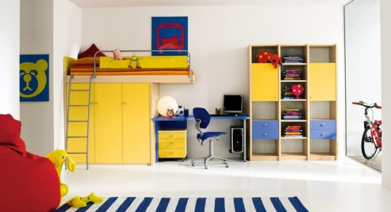 Ergonomic toys and clothes Storage For Kids Room: Amazingly Luxury Kids Bedroom With A Lot Of Space Storage And Work Station Decoration Drawer With Yellow Furniture Accessories Design And Hanging Cabinet And Marble Floor