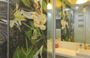 Beautiful Mosaic Ideas For Bathrooms : Amusing Contemporary Bathroom Mosaic Ideas For Bathrooms Nice To Have A Flower Garden In The Bathroom Proper Glass Mosaics Wall Behind Glas