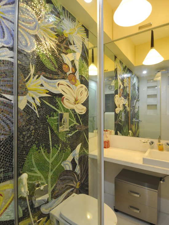 Beautiful Mosaic Ideas For Bathrooms: Amusing Contemporary Bathroom Mosaic Ideas For Bathrooms Nice To Have A Flower Garden In The Bathroom Proper Glass Mosaics Wall Behind Glas