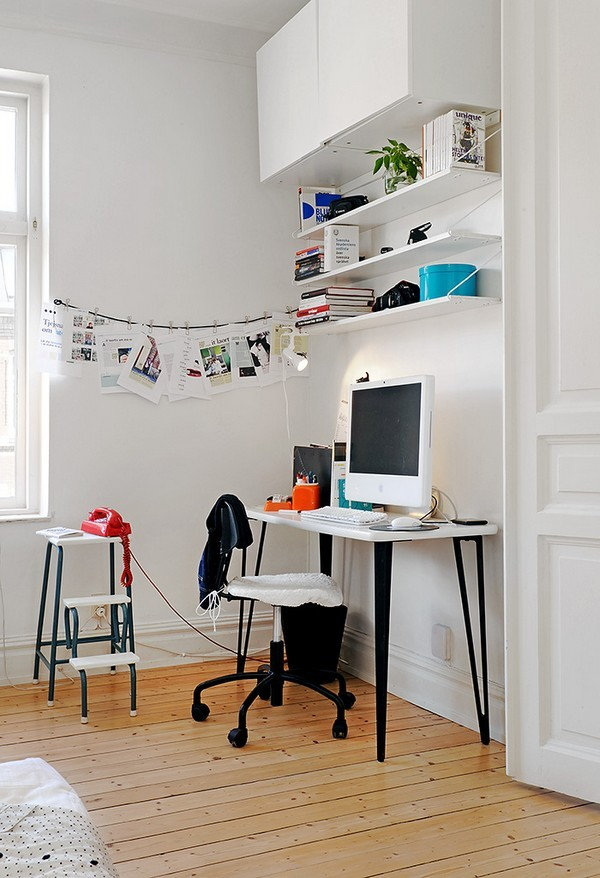 Pictures Of Designer Desk Design That Encourage Work Creativity: Amusing Designer Desk Design With Chair Computer Book Shelf Wall Decor Wooden Floor Ideas