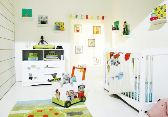 Cozy And Cheerful Modern Nursery Room Design: Amusing Fun Nursery Room Decoration Design With Nursery Wall Decor And White Wooden Crib With Blanket And White Low Cabinet And Area Rug Ideas ~ stevenwardhair.com Furniture Inspiration