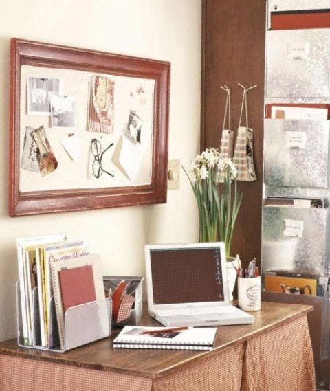 Mesmerizing Office Decor Ideas : Amusing Home Office Decor To Bring Spring To Your Home Organized Work Station Small Corner Message Board In Wooden Frame