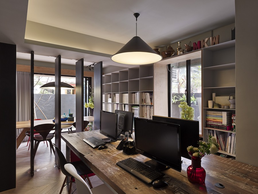 Exquisite Taipei Studio, Office Space By Day Cozy Home By Night: Another Beautiful View Taipei Apartment Studio Area And Dining Area With Opened Room Divider And Book Shelves Ideas